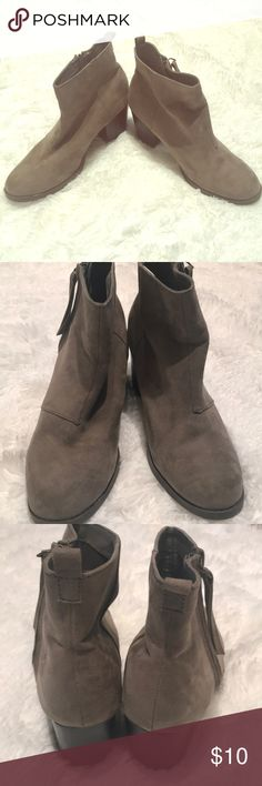 🛍Ankle Boots🛍 Old Navy Super cute Old Navy dark gray suede ankle booties. These were worn once. They are a size 10 but will fit a narrow foot much better. Old Navy Shoes Ankle Boots & Booties