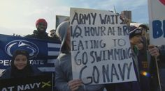 The 6 best 'College GameDay' signs from the Army-Navy game College Gameday Signs, Espn College, Fan Signs, Army & Navy, Poster Ideas, Swimming, Sports, Swim, Sport