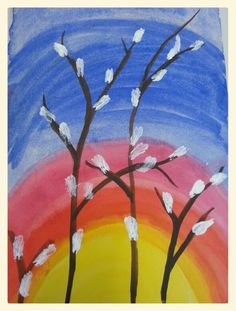 Pääsiäisaamun pajunoksa Spring Painting, Spring Art, Spring Crafts, Acrylic Painting For Beginners, Painting For Kids, Drawing For Kids, Art For Kids, Kids Art Galleries, New Year's Crafts