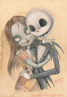 Impression de Sally et Jack LIMITED EDITION 25 signé numéroté grands yeux de Simona Candini Nightmeare avant Noël Tim Burton Halloween Valentine