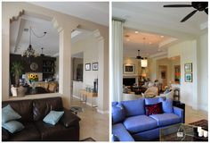 Here's a Before & After tease of a house in La Quinta we completed recently.  New paint, furniture and fixtures, along with structural changes like removing unnecessary pony walls.  Trust me - this isn't the most dramatic change in this house.  Keep an eye out next week for that! #InteriorDesign #BeforeAndAfter #Home #Decor #Remodel #Decorate #LaQuinta #PalmSprings #DannFann