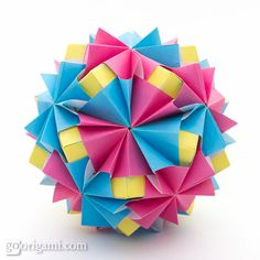 Modular origami balls - Kusudama Waltz Sonobe and Boston Waltz Sonobe by Maria Sinayskaya, diagram.