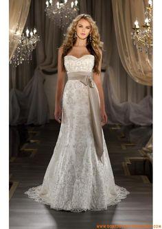 Belle robe de mariée simple 2013 A-line ceinture broderies organza