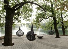 """Exclusive basalt fiber hanging chair for garden, patio or indoors - genuine """"thinking pod"""". Light and damn elegant. Each chair is handmade – unique, safe and sturdy. Furniture Making, Garden Furniture, Furniture Design, Outdoor Furniture, Basalt Fiber, Garden Pods, Colorful Pillows, Garden Seating, Landscape Architecture"""