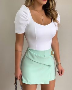 Puff Sleeve Casual Tee Shirt Women Summer Square Collar Vintage Tops Skinny Office Ladies Ruffled Slim White Green T Shirt Femme Girl Fashion, Fashion Dresses, Womens Fashion, Fashion Tips, Orange Formal Dresses, Kurtis Online India, Ethnic Wear Designer, Mode Outfits, Mode Style