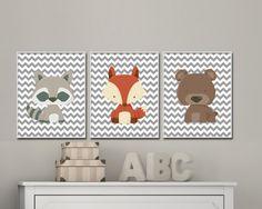 Baby woodland nursery art prints. Woodland animal art by HopAndPop