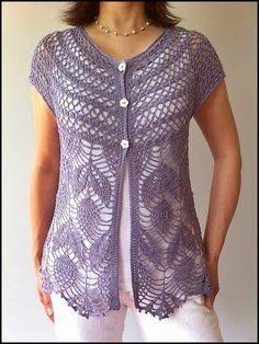 Ravelry: Jamie - short sleeve crochet vest pattern by Vicky Chan~~~~Beautiful! Crochet Bolero, Gilet Crochet, Crochet Vest Pattern, Crochet Shirt, Crochet Jacket, Crochet Cardigan, Knitting Patterns, Knit Crochet, Crochet Patterns