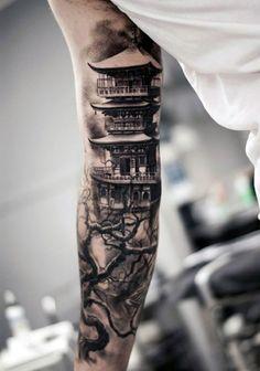 Japanese Shaded Black And Grey Pagoda Arm Tattoo
