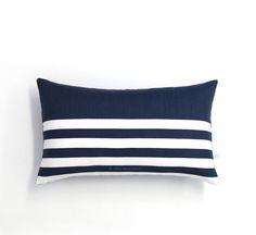 Striped Lumbar Pillow Cover in Navy and Cream Breton Stripes by JillianReneDecor (12x20) - Modern Ho