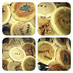 boomstamschijfjes met naam #kersthangers #naamschijfjes #kerstdiner www.als-nieuw.com