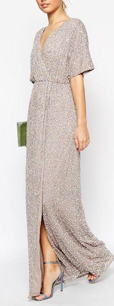 Buy ASOS Sequin Kimono Maxi Dress at ASOS. Get the latest trends with ASOS now. Maxi Dresses Uk, Trendy Dresses, Dress Outfits, Fashion Dresses, Bridesmaid Dresses, Formal Dresses, Blue Dresses, Sequin Kimono, Kimono Dress