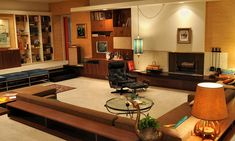 Mad Men's Don Draper's '60's living room inspired by Frank Lloyd Wright // by production designer Dan Bishop