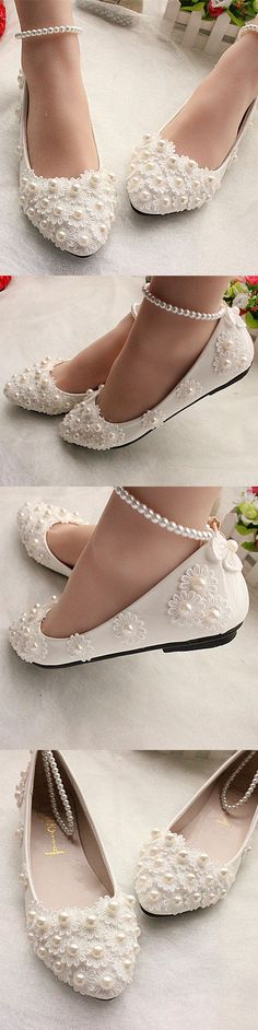 Wedding Shoes And Bridal Shoes: Ivory White Lace Wedding Shoes Pearls Ankle Trap Bridal Flats Heels Size 5-12 BUY IT NOW ONLY: $35.99 #priceabateWeddingShoesAndBridalShoes OR #priceabate