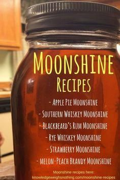 5 Moonshine recipes for you to try. Includes an apple pie moonshine recipe! Moonshine Whiskey, Apple Pie Moonshine, Making Moonshine, How To Make Moonshine, Moonshine Drink Recipes, Moonshine Mash Recipe, Strawberry Moonshine Recipe, 5 Gallon Moonshine Recipe, Salted Caramel Moonshine Recipe