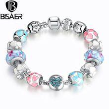 """BISAER Plateado Principio Corazón Pulseras Del Encanto para Las Mujeres Cristales """"AMOR"""" de Colores de Murano Beads Fit Pandora Pulseras Pulsera(China (Mainland))"""