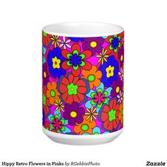 Hippy Retro Flowers in Pinks Coffee Mug - $22.20 - Hippy Retro Flowers in Pinks Coffee Mug - by #RGebbiePhoto @ #zazzle - #Flowers #Hippy #Retro - Bright girly pink style look. Colorful retro style flowers, hippy style in bright colors! Large petal flowers in a jumbled assortment. 70s Hippy look, great throwback item! Gift your favorite undercover hippy with something to bring a huge smile!