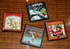 Coasters from (copied and reduced) vintage Christmas Golden Books.