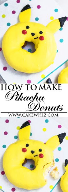 Learn how to make easy PIKACHU DONUTS (doughnuts) with these detailed instructions. All you need is melted chocolate to make these cute Pokemon donuts for birthday parties. From cakewhiz.com