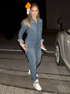 Jennifer Lopez wearing Giuseppe Zanotti London Birel High Top Lace Up Sneakers, Jennifer Fisher Double Flat Chain Link Ring and Joe's Jeans Relaxed Riya Jumpsuit J Lo Fashion, Star Fashion, Winter Outfits, Kids Outfits, Casual Outfits, Classy Outfits, Jennifer Lopez, Jennifer Fisher, White Wedge Sneakers
