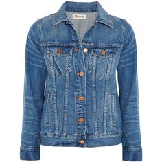 Madewell Classic Jean denim jacket (6,340 DOP) ❤ liked on Polyvore featuring outerwear, jackets, blue, coats & jackets, sweatter, mid denim, madewell, madewell jacket, blue jackets and blue denim jacket