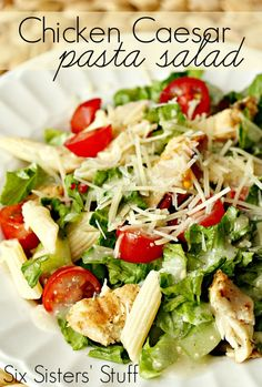 Grilled chicken Caesar pasta salad.