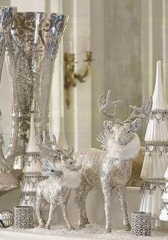 Add a sparkling shimmer to your holiday decor with the Large Mica Prancer Figure that will draw attention to your mantle or accent table.