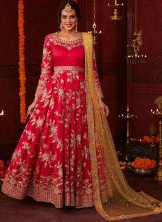 Red Net Patch Border Work A Line Lehenga Choli Designs - Indian Dresses Lehenga Choli Designs, Ghagra Choli, Lehenga Sari, Lehenga Style, Lehenga Choli Online, Bridal Lehenga Choli, Lehenga Wedding, Anarkali Dress, Indian Dresses