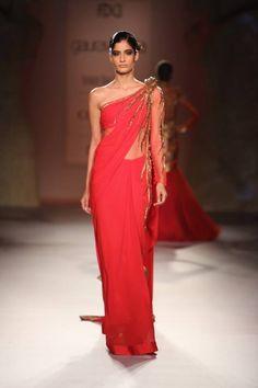 Gaurav Gupta at India Couture Week 2014 - one shoulder pink red sari