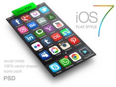 iOS 7 style icons of social media FREE PSD by despoth , via Behance