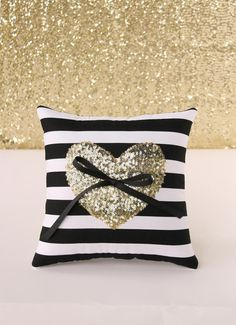 Gold sequin heart ring bearer pillow. Gold heart on black and white striped pillow. See more here: https://www.etsy.com/listing/233835619/gold-sequin-heart-ring-bearer-pillow?ref=shop_home_active_1