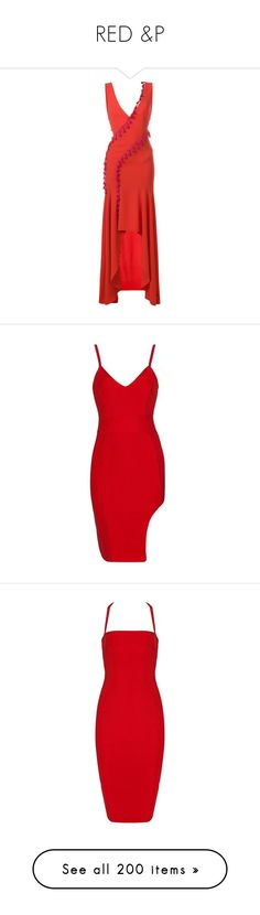 """""""RED &P"""" by alyssa23 on Polyvore featuring dresses, red, tassle dress, red crepe dress, red plunging neckline dress, asymmetrical dresses, red tassel dress, cut out dresses, cut out bandage dress and red dress"""