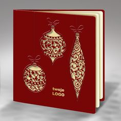 The Christmas card is made of high quality bordeaux paper. The bordeaux cover has laser cut three Christmas tree ornaments and they are embossed. The insert is mat ecru. The envelope is included.