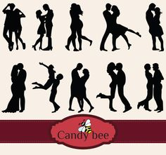 Valentine -Couple -Silhouettes Clip art,  Instant digital Download clip art. Commercial or Personal Use -321 by CandyBeeDesigns on Etsy https://www.etsy.com/listing/218161853/valentine-couple-silhouettes-clip-art