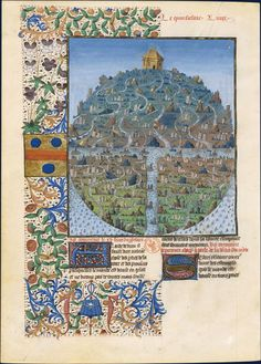 Parts of the Earth. Bartholomew the Englishman (1190-after 1250) Book Properties of Things. Of proprietatibus rerum. Translation of Jean Corbechon. Illumination, Evrard of Espinques, 1479-1480.