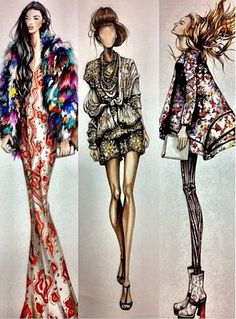 Nancy Riegelman. I'm not liking the tendency to use skeletal figures within fashion illustration (and fashion in general), but the detailing here is exquisite.