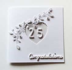 Silver Wedding Congrats Anniversary by BrindavanCrafts Anniversary Cards For Husband, Wedding Anniversary Cards, Anniversary Ideas, Happy Anniversary, Wedding Cards, Wedding Invitations, Engagement Cards, Congratulations Card, Flourishes