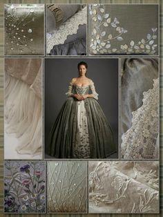 Silver Screen Surroundings: Outlander S1E7: The Wedding. Dress inspires interior details.