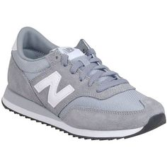 New Balance Women's 620 Capsule Core Sneaker (610 NOK) ❤ liked on Polyvore featuring shoes, sneakers, grey, new balance trainers, new balance shoes, retro sneakers, lace up sneakers and new balance