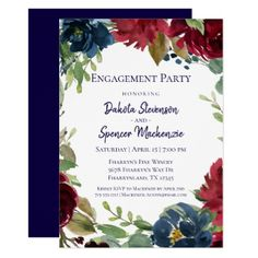 #Rustic Floral | Boho Chic Modern Engagement Party Card - #engagement #party engagement partywedding showerwedding