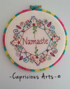 Namaste Mandala Hand Embroidered Hoop Art by CapriciousArts Embroidery Hoop Art, Hand Embroidery Patterns, Cross Stitch Embroidery, Cross Stitch Patterns, Thread Art, Needlework, Crochet, Crafts, Sewing