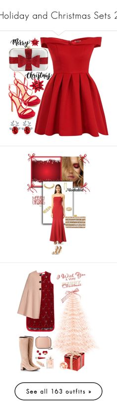 """Holiday and Christmas Sets 2"" by lovetodrinktea ❤ liked on Polyvore featuring Chi Chi, La Regale, Schutz, Martha Stewart, Jill by Jill Stuart, Shay, Edie Parker, Aquazzura, Attilio Giusti Leombruni and DKNY"