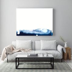"""Minimal Abstract Painting """"Blue Mountains"""" by Jules Tillman -Fine Art Lustre Print minimal abstract landscape watercolor painting Blue White"""