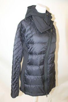 LULULEMON womens thin black Down Puffer Coat sz 12 #Lululemon #CoatsJackets