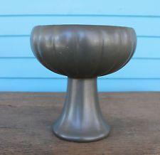 McCoy Pottery Matte Black Floraline Pedestal Bowl Vase