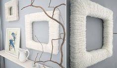 Marcos de cuadros forrados en lana.