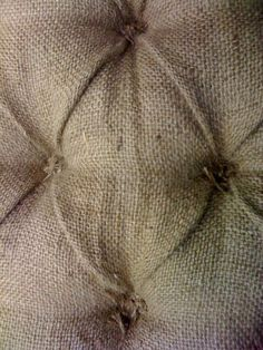 Burlap ~ Tie the tufts instead of making buttons