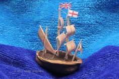 """Make Miniature Boats or a Walnut Navy From Walnut Shells: Make the """"Mayflower"""" With a Walnut Shell Hull Walnut Shell Crafts, Minis, Pistachio Shells, Make A Boat, Toy Rooms, Miniature Crafts, Shell Art, May Flowers, Thanksgiving Crafts"""