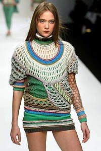 British designer Clare Tough was a knitting superstar even before she finished her MA degree at Central Saint Martin's College of Art & Design, London, in 2004. Her reputation as a visionary in constructed textiles has only grown since then with her keenly juxtaposed combinations of oversized, extravagant shapes and streamlined, thought-provoking details in her silhouettes.
