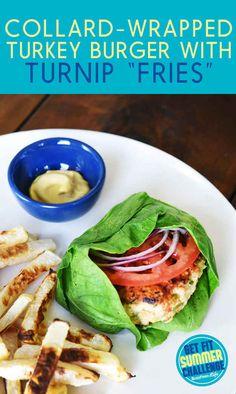 Collard-Wrapped Turkey Burger With Turnip Fries