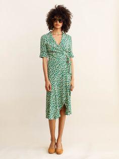 GANNI - DALTON CREPE DRESS - VERDANT GREEN